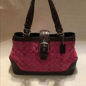 Coach Hampton Signature Carryall in Magenta